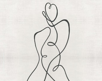 Female form with 7 energy centres / chakras line drawing