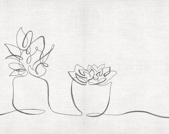 Cacti Succulent pairing line drawing