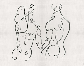 Spirit Swirls between two connected human forms line drawing