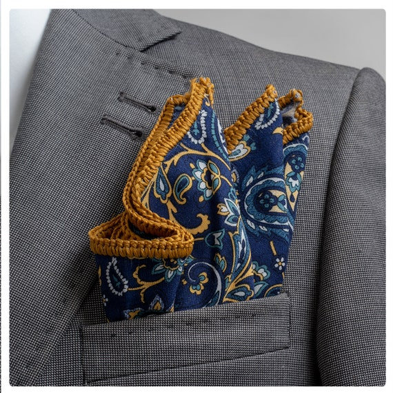 Hand-Crochet Camel Cotton Pocket Square with Brown signature Border