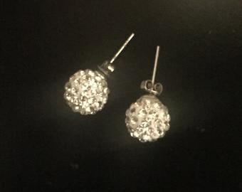 af4f836a6 Disco ball stud earrings, disco ball jewelry, vintage CZ studs, fake diamond  sparkly big studs, statement, sparkle, silver stud earrings