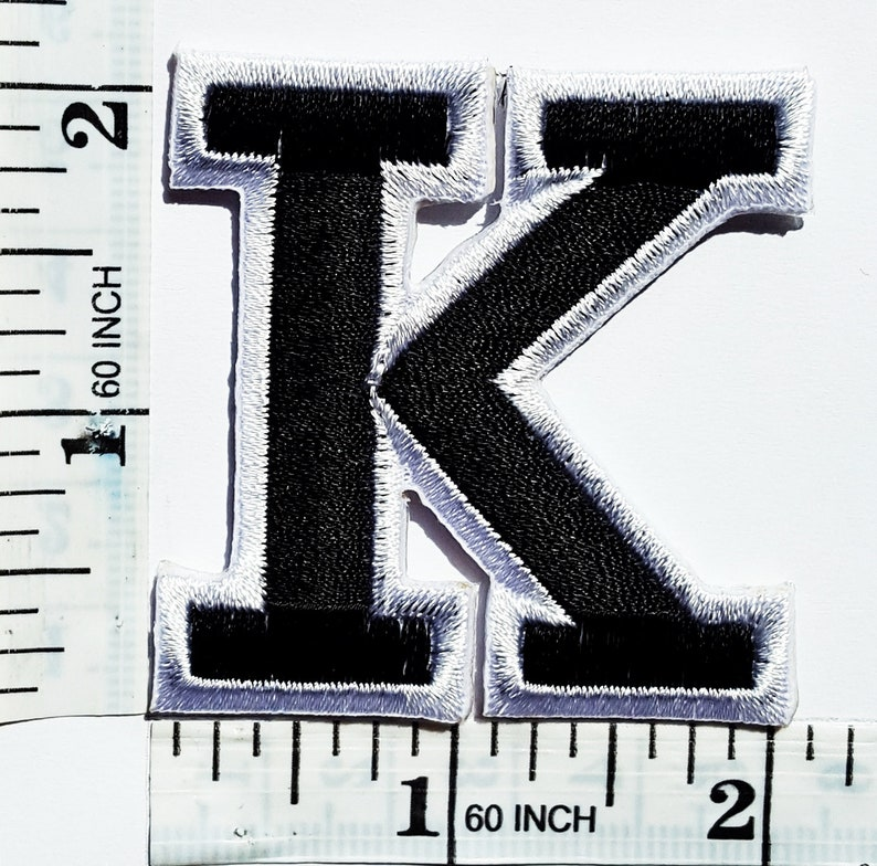 Black Alphabet Letter K Patches Appliques Hat Cap Polo Backpack Clothing Jacket Shirt DIY Embroidered Iron On  Sew On Patch