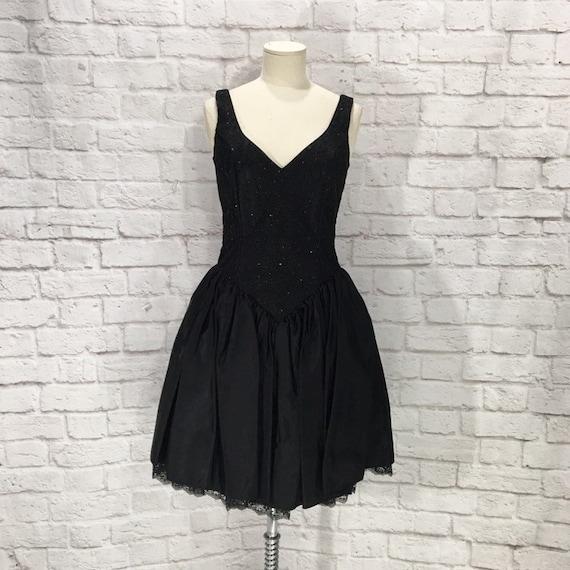 Vintage Gunne Sax Black Sparkle Dress