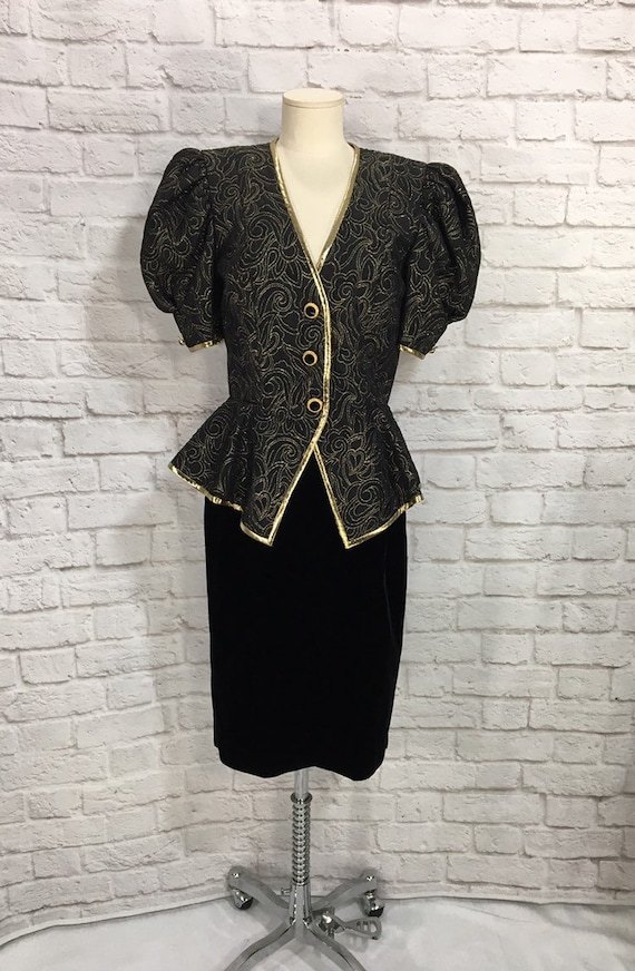 AJ Bari Black Velvet and Gold Suit