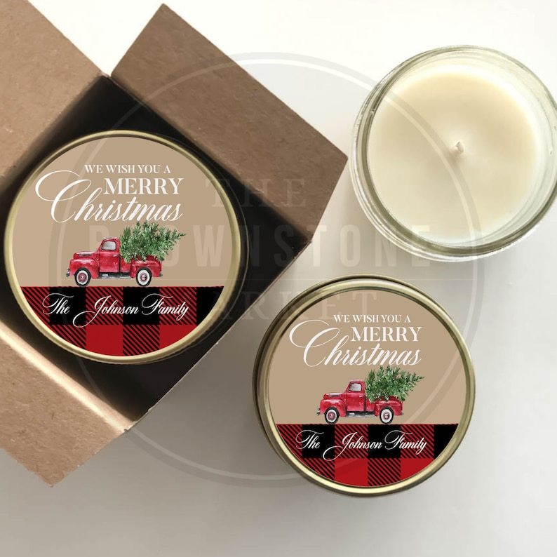 Christmas Gifts Holiday Party Holiday Favor Candles Set of 6 Candles   Gift Plaid Christmas