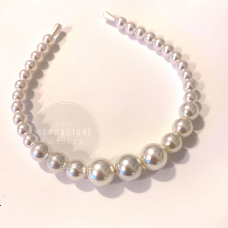 Pearl headband White Pearl Headband Pearl Crown Bridal Headband Bridal Shower, Pearl Wedding Headband
