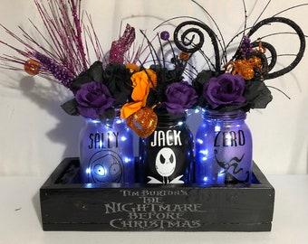 Nightmare Before Christmas Lighted Mason Jar Centerpiece, Halloween Centerpiece