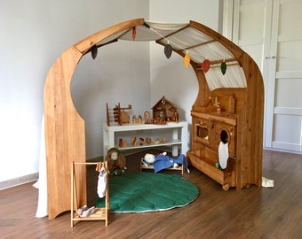 Waldorf Playstand, Wooden playhouse, Two stands and two canopies, Shelves for the children's room