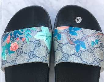 38157f4bbcd Custom Gucci Hand printed blue flowers women men inspired unisex gucci  Slides - Sandals - Flip Flops Tropical