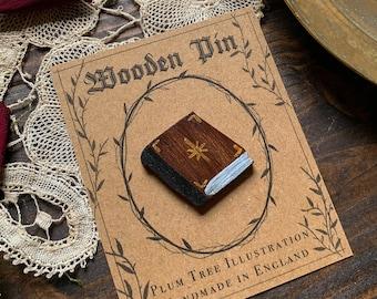 Wooden Spellbook Pin   Wooden pin   Halloween pin   Dark academia   Handmade pin   Witch pin