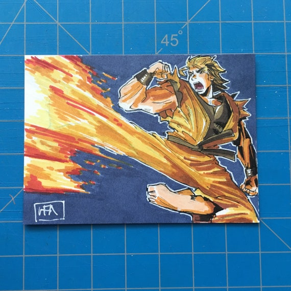 Ryo Sakazaki Art Of Fighting Original Sketch Card Inktober Etsy