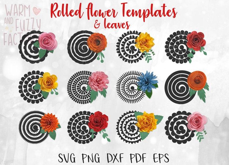 Rolled Flower Svg 3d Flower Svg Paper Flower Svg Cut File For Cricut Silhouette Rolled Paper Flower Template Svg Wedding Svg Flower Svg