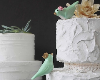 14ee6048854983 Love Bird Custom Cake Topper - Mint Bird Wedding Cake Toppers with Crown -  Your Choice of Colors and Accessories
