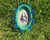 Janis Joplin wallhanging tin nicho. Shrine. Kitsch, boho, maximalist gift. Curio, shadow box, retablo, diorama. Sustainable, upcycled art.