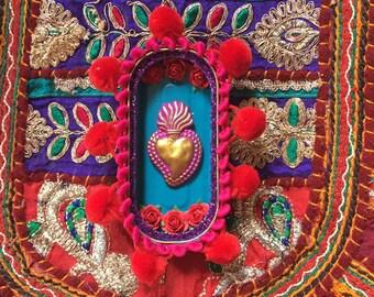Sacred heart wall art. tin nicho. 10th wedding anniversary gift. Wall art. Anchovy tin shrine.Mexican folk art style.