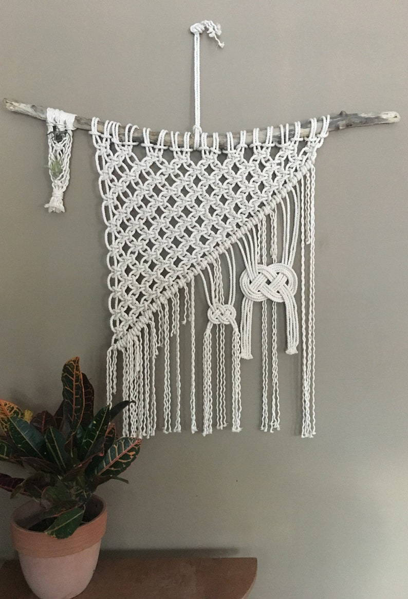 Large Macrame Wall Hanging With Air Plant Hanger Wall Decor Handmade Boho Decor