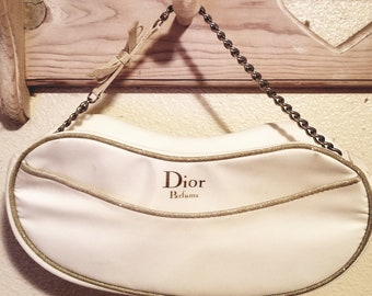 Dior Satin White with Gold trim evening bag 8a01d8117f202