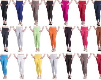 Womens cotton Leggings Full length plus sizes 8 10 12 14 16 18 20 22 26 by Sentelegri