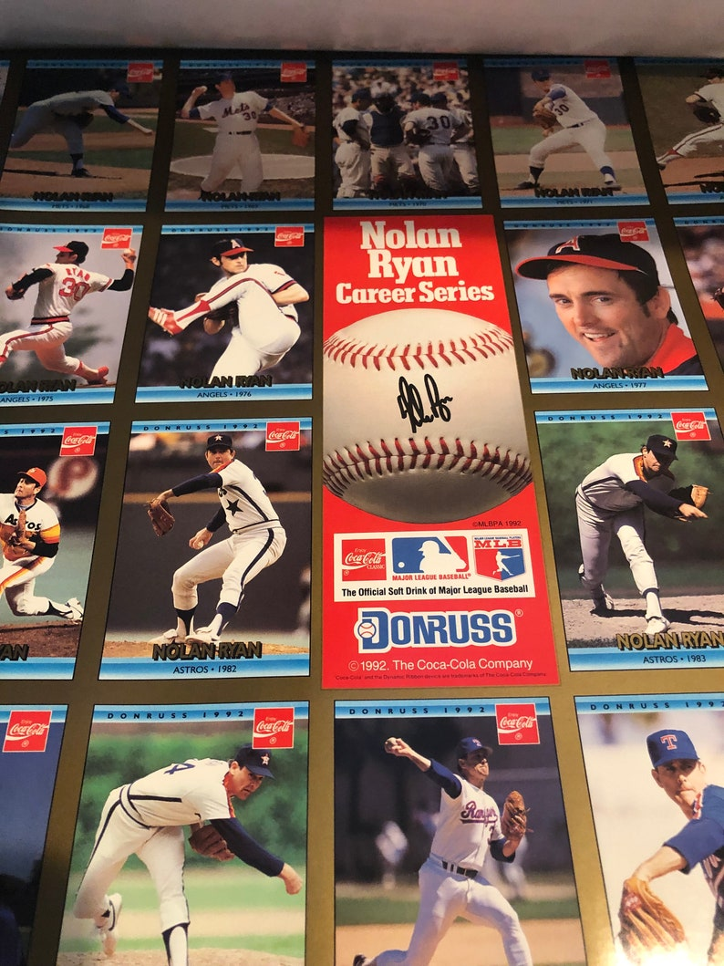 3 Full Sheets Nolan Ryan Career Series Coca Cola 1992 Donruss Baseball Cards Full Sheet