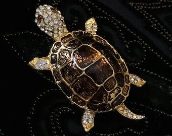 Vintage Rhinestone Gold Turtle Brooch