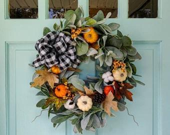 Fall Wreath with buffalo check bow, Autumn Wreath, Fall Wreath for Wall, Thanksgiving Wreath, Pumpkin Wreath