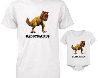 0fced271e07 T-rex Daddysaurus and Babysaurus funny dad son cute funny dad and baby  matching t-shirts set for father and baby shirt and baby suit set