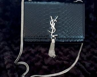 4ed2c19655e13 Black Leather Snake Stil Hochzeits-Partyabend Clutch mit silberner Tassel