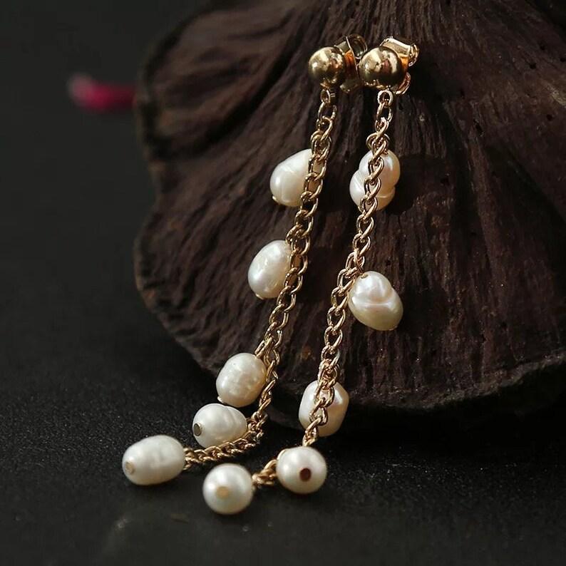 Drop Earrings Pearl Dangle Earring Drops Chain Earrings Pearl Earrings Dangle Earrings