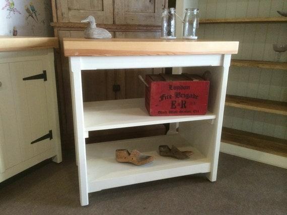 Rustic Wooden Pine Freestanding Fully Open Kitchen Island Handmade Shabby  Chic