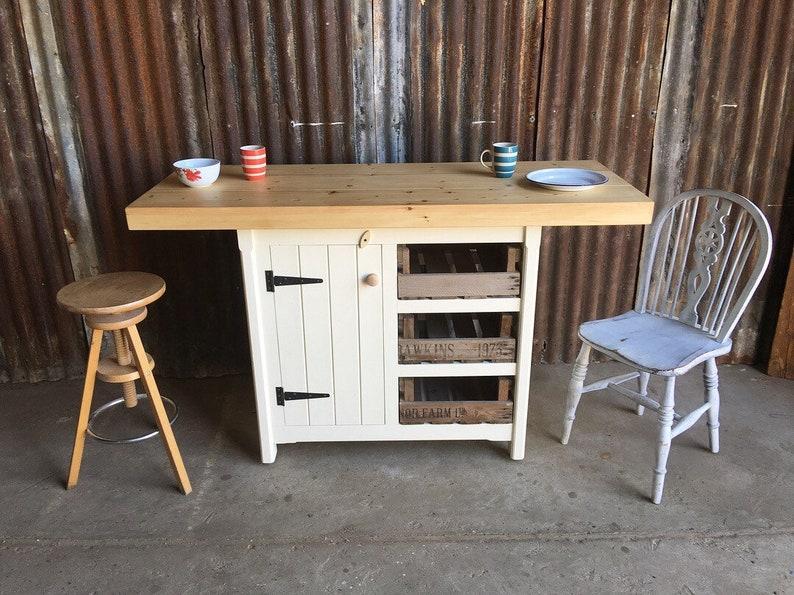 Kitchen Island Cupboard Drawers Breakfast Bar Storage Unit Rustic Solid Pine