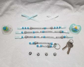Baby Keep Set Football Present Gift Burnley Inspired Dummy Clip Keyring