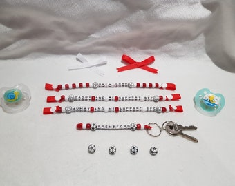 Gift Football Present Crystal Palace Inspired Dummy Clip Baby Keyring Set