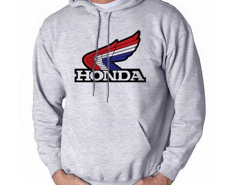 a82bacdbf66f Honda Retro Hoodie Hooded Adult Men s Sweatshirt Grey