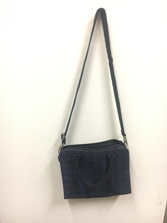 05f0ad95643a Vintage Polo Ralph Lauren Green Navy Plaid Messenger Bag   Etsy