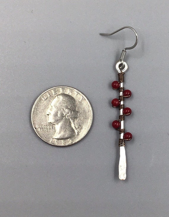 Copper Paddle Earrings accented with Garnets