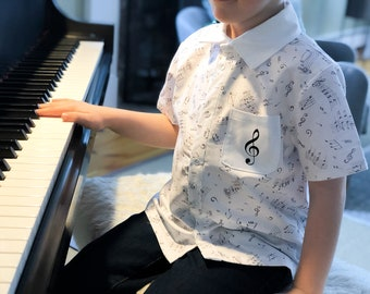 Musical Notes Button Up Shirt Short Sleeved with optional treble clef applique