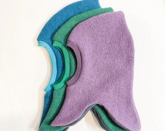 Lilac Wool Kids Balaclava, Woolen Purple Toddler winter hat, Boy Girl winter hat