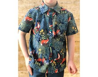 Woodland Print Button Up Shirt Short Sleeved / Fox shirt