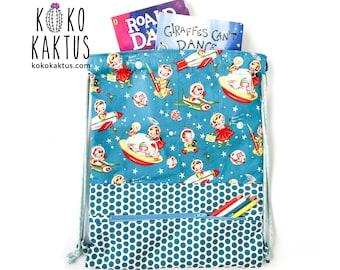 Space Drawstring Backpack / Drawstring Backpack with Zipper Pocket / Toddler Sack Bag