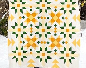 Spring flowers modern quilt template PDF pattern