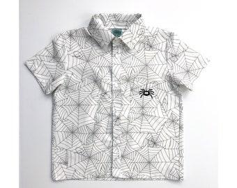 Spider Button Up Shirt, Short Sleeved, Halloween Spiderweb Shirt