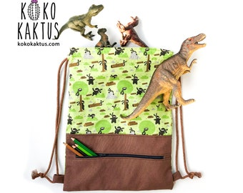 Ninja Drawstring Backpack / Drawstring Backpack with Zipper Pocket / Toddler Sack Bag