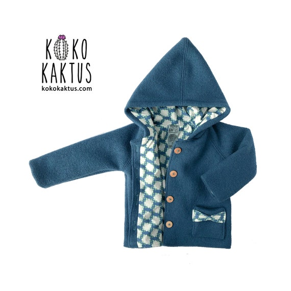 0634209d8afb Blue Boiled Wool Jacket   Hooded Coat with Cotton Lining
