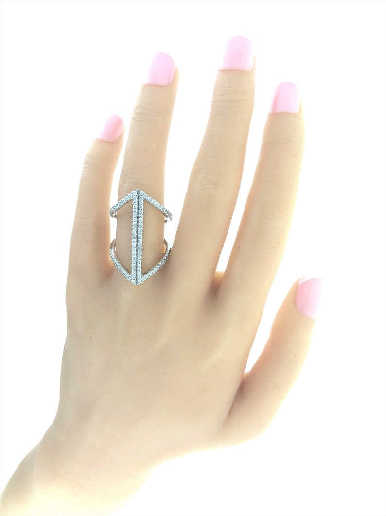 Gift for Her Unique Ring Contemporary Ring Geometric Ring Simulated Diamond Ring Sterling Silver Ring Trendy Ring