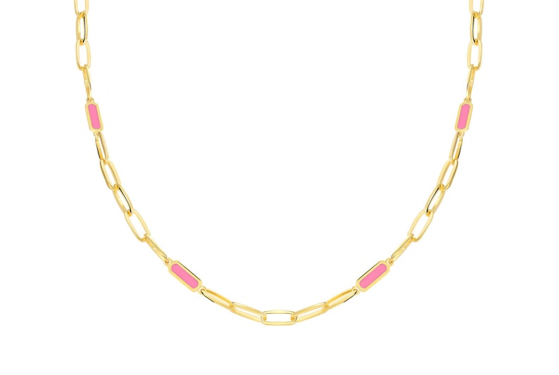 Pink Enamel Necklace Silver Necklace Fantasy Necklace Gold  Necklace Gold Enamel Elongated Chain Necklace Gift For Her Necklace
