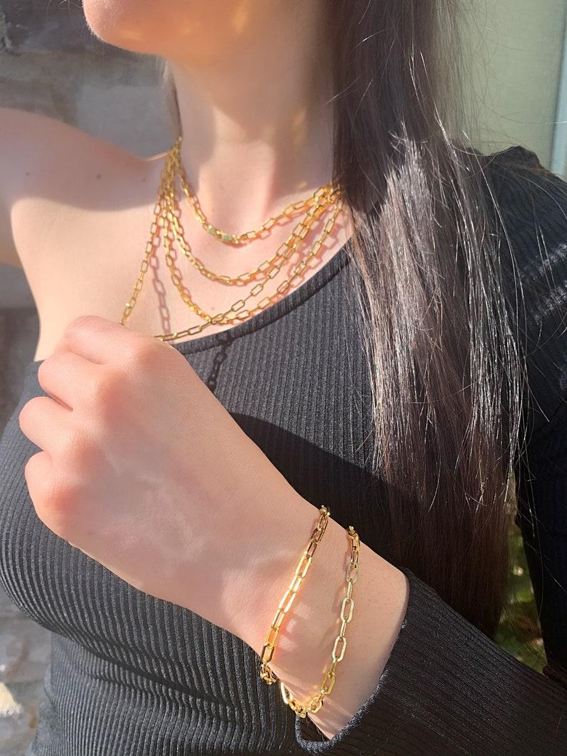 Layering Bracelet Elongated Link Bracelet Unisex Jewelry Gold Chain Bracelet 3.5 MM Chain Bracelet Gold Paper Clip Link Bracelet