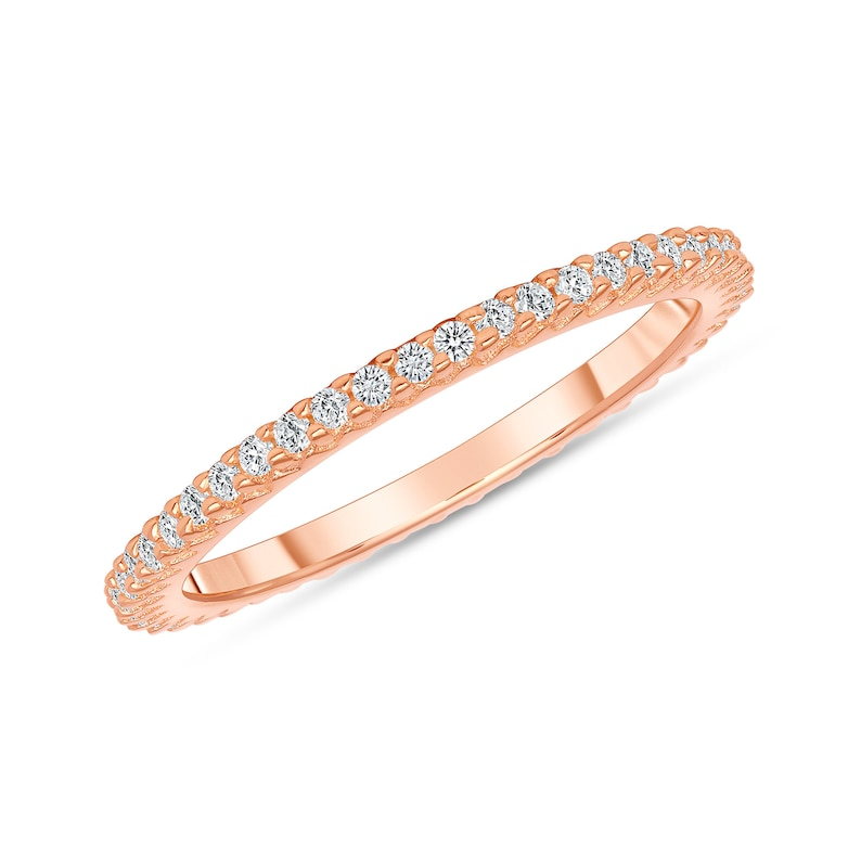 Full Eternity Band Micro Pave Eternity Band Rose Gold Simulated Diamond Pave Ring Stackable Silver Pave Ring Dainty Stackable Rings