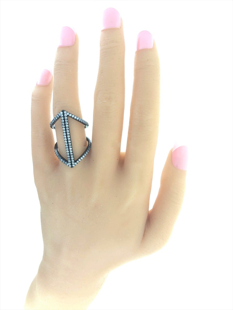 Unique Ring Geometric Ring Trendy Ring Sterling Silver Ring Simulated Diamond Ring Contemporary Ring Gift for Her