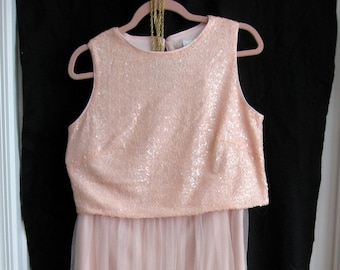 9437f2e3aa0 TALL Vintage Pink Two Piece Sequin   Tulle Gown - Size 12 - Bill Levkoff