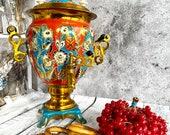 Soviet Russian Vintage Samovar, Electric Teapot, Handpainted,220 v, 3 liters, Home Decor